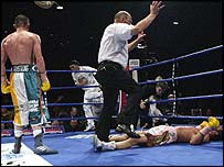 Arthurs takes an eight count in the fifth round
