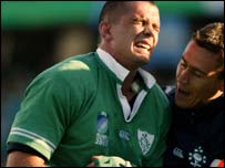 Alan Quinlan sustained the injury in scoring Ireland's crucial try against the Pumas