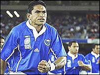 Semo Sititi leads the Samoans' traditional challenge before the match