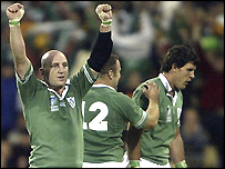 Ireland captain Keith Wood celebrates a tense victory