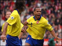 Thierry Henry celebrates his crucial equaliser