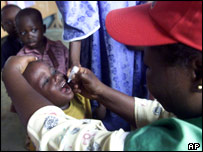 A child receives the vaccine in Lagos