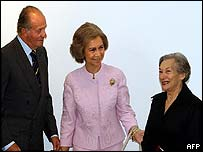 King Juan Carlos, Queen Sofia and Christine Ruiz Picasso