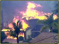 Fire engulfs a home in San Diego