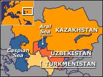 Aral sea map   BBC