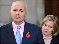 Iain Duncan Smith making his statement with wife Betsy