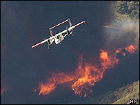 California Department of Forestry Scout airplane monitors Simi Valley fire in California