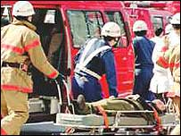 Rescue workers at scene of 1995 sarin gas attack in Tokyo