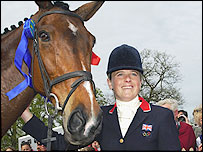 Pippa Funnell with Supreme Rock at the Badminton Horse Trials