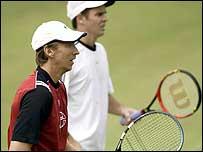 Wayne Arthurs and Todd Woodbridge practice in Melbourne