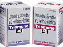 Envases de medicinas para combatir el SIDA .