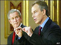 Tony Blair and George Bush at press conference in London