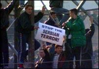 Kosovo Albanians demonstrate, 1998