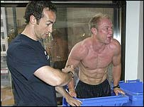 England fitness coach Dave Reddin (left) with Neil Back