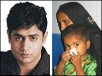 Abrar ul-Haq (left) and mother and child at his new medical centre
