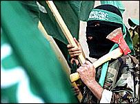 Hamas members marching