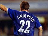 Tobias Linderoth celebrates scoring for Everton