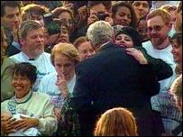 Clinton embracing Monica Lewinsky