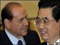 Silvio Berlusconi of the EU and Chinese President Hu Jintao