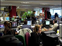 The BBC News Interactive newsroom in west London
