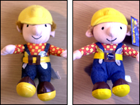 A fake (left) and real (right) Bob the Builder toy
