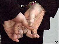 Michael Jackson's hands in cuffs