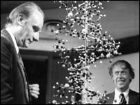 "Crick and James Watson with a model of the ""double-helix"""