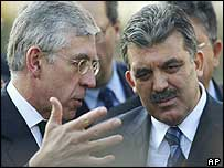 Jack Straw and Turkish counterpart Abdullah Gul