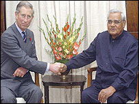 Prince Charles and Indian Prime Minister Atal Behari Vajpayee