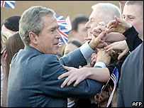 US president George Bush meets UK prime minister Tony Blair's neighbours in in Trimdon Colliery, County Durham