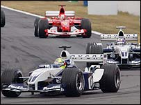 Ralf Schumacher in action at the 2003 French GP