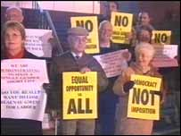 Protesters at Ebbw Vale
