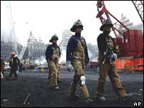 Firefighters at the site of the World Trade Center, New York