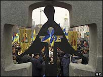 About 2,000 people gathered at the monument to victims of the famine in Kiev