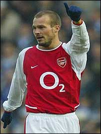 Freddie Ljungberg celebrates scoring for Arsenal