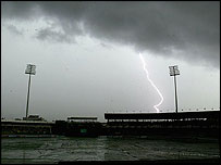Lightning breaks out over the Premadasa Stadium
