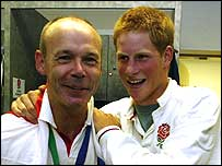 Clive Woodward (left) with Prince Harry