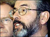 Gerry Adams led his negotiators inside Number Ten.