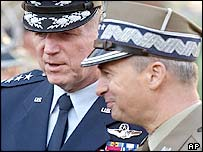 US General Richard B Myers (left) with General Czeslaw Piatas