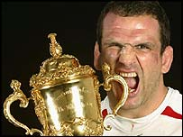 Martin Johnson celebrates his World Cup win