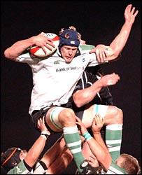 Connacht replacement lock Andrew Farley wins a lineout