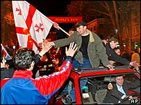 Scenes of jubilation ion the streets of Tbilisi