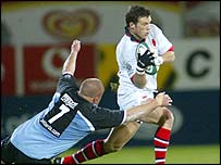 Ulster's Bryn Cunningham shows a clean pair of heels to the opposition