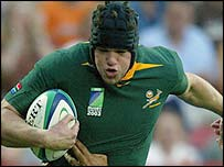 Joe van Niekerk scored South Africa's first try after just 93 seconds
