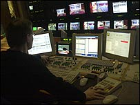 Behind the scenes on a television news broadcast