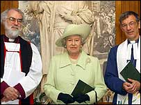 The Archbishop of Canterbury, the Queen and President of the Methodist Conference Dr Neil Richardson  (l-r)