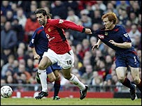 Ruud van Nistelrooy (left) holds off Hayden Fox