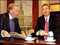 Sir David Frost and PM Tony Blair