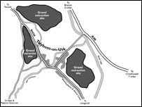Map of sand and gravel sites