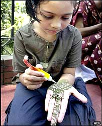 Bangladeshi girl with henna